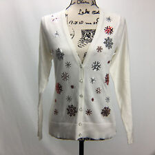 Womens Sz M Cardigan V-neck Sweater Long Sleeve Ivory Sequin 7th Avenue NYC NWT