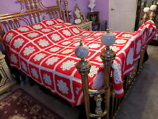 HANDMADE Crochet Afghan Large Queen King Bedspread Throw Red White SNOWFLAKES!