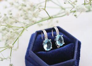 Womens Blue Topaz Sterling Silver 925 Round Drop Earrings Zirconia Crystal Gift
