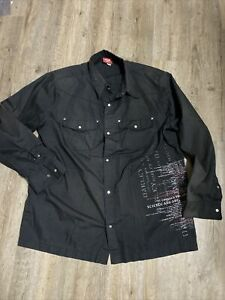 Oakley Vintage Button Up Skull Black Shirt Xl Fast Free S/H
