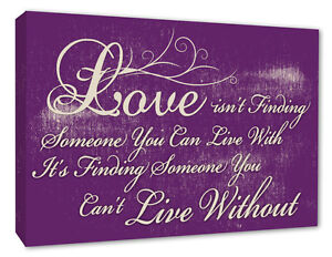 Inspirational Love Wall Art Quote Love Wall Picture Purple Canvas Prints A1+