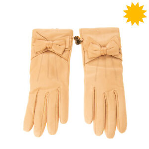 RRP €125 BOUTIQUE MOSCHINO Leather Gloves Size 7.5 / S Wool Lined Bow Detail