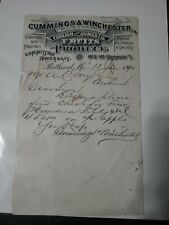 Vintage 1890 Cummings & Winchester Fruit Products Portland Maine Receipt