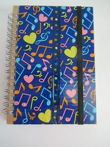 Pocket hardback music note and hearts cover notebook