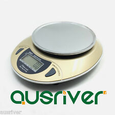 1kg/0.1g LED Blue Backlit High Precision Digital Kitchen Scale with Tray Gold