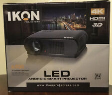 "IKON IK900 LED ANDROID Smart Projector 4K 3D HDMI 1920 X1080 and IKON 72"" Screen"