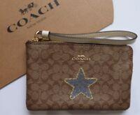 Coach Zip Round  Purse / Wallet Wristlet Classic Brown LOGO Leather RRP $95.00