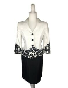 Women's Kasper Black and White Two Piece Skirt Suit Size 4P
