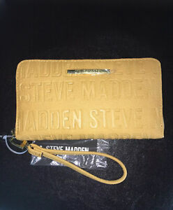 STEVE MADDEN WALLET WRISTLET MUSTARD STAMPED LOGO GOLD ZIPPER
