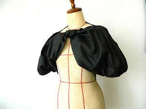 COMME des GARCONS NOIR ancien adorable boléro noué polyester noir moiré