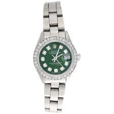 Rolex Oyster вечный 6917 Datejust дамы из стали бриллиантовые часы зеленый циферблат 1 кар