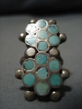 Amazing Dishta Turquoise Inlay Vintage Zuni Sterling Silver Native American Ring