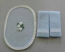 Dollhouse Miniature Handcrafted Blue Lace trim bath set 2 towels & 1 oval rug
