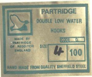 Vintage 25 Pack Partridge Double Low Water Q Salmon Hooks 3/0 2/0 1/0 1 2 4 6 8