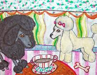 Toy Poodle drinking Tea Original 11x14 Painting Artist KSams Dog Art Collectible