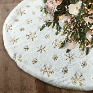 2020 NEW Christmas Tree Skirt Large White Luxury Faux Fur Snowflakes Gold/Silver
