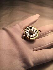 Handmade Tribal Tibet Genuine Labradorite  Brass Poison Box Ring