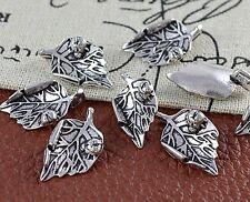 3stk.Antik Tibetisches Silber Metall Charme Anhänger Schmuck Blatt 67x51x3mm PP