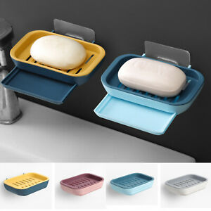 2 Layers Suction Soap Dish Strong Stick Easy Clean Tray Holder Shower Accessory