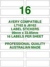 AVERY L7162 & J8162 COMPATIBLE ADDRESS SHIPPING LABELS STICKERS 16 X 10 SHEETS