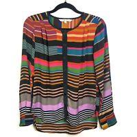 Trina Turk Women's Striped Long Sleeve Button Up Blouse Top SIZE S Career Shirt