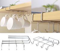 Under Shelf 8 Mug Cup Holder Kitchen Storage Organiser Chrome Hanging Rack S/S