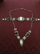 Vtg antique Edwardian victorian cameo amethyst glass signed GM necklace bracelet