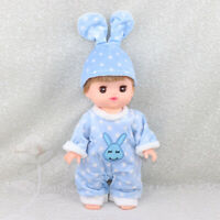 Cute Jumpsuit with Hat Set Outfit for Mellchan Reborn Baby Girl Doll Blue