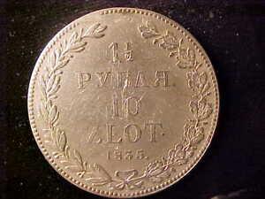 POLAND 10 ZLOTY 1835 LIGHT SCRATCHES