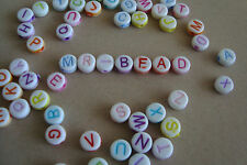 **2 Full Sets of Plastic Round White Alphabet Beads with Mixed Colour Letters**