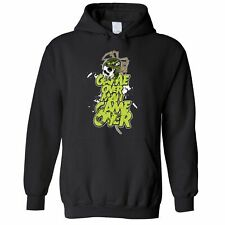 Movie Parody Hoodie Game Over Man Slogan Skull Predators Nerd Geek Space
