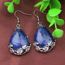 Silver Plated Natural Lapis Lazuli Stone Water Drop Shape Stone Earring Jewelry