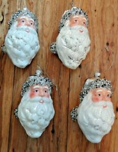 Robert Stanley Glass Silver And White Santa Head Ornaments Set Of 4