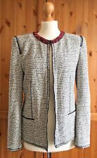 ZARA WOMAN Large 12 14 Chic Bouclé Beaded Blazer Black White Smart Business