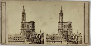 France, Strasbourg, Cathédrale Notre Dame de Strasbourg Vintage stereo card,