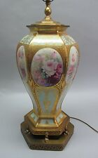 "Very Large & Fine 14.5"" Hand-Painted ANTIQUE GERMAN VASE mounted as Lamp"
