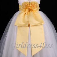 Belle Yellow Sash Wedding Flower Girl Dress Bow S M L 12M 18M 24M 2 4 6 8 10 12