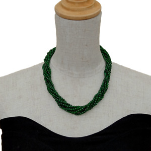 """4 Rows 4mm Round Green Jade Multi Strands Necklace Cubic Zirconia Pave clasp 19"""""""