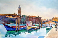 Venedig, Aquarellbild, original 2019, 17,5  x 27 cm, signiert
