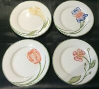 "PIER 1 ""FLORAL"" SET OF PORCELAIN SALAD OR DESSERT PLATES 4 DIFFERENT FLOWERS"