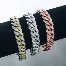 18k Gold Out Iced CUBAN LINK Miami Chain Lab Diamond Mens Rose Silver BRACELET