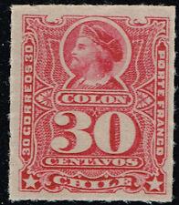 CHILE 1899 STAMP # 33 MNH RULETEADOS COLUMBUS