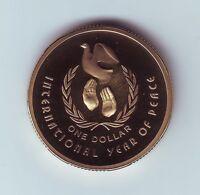 1986 $1 Proof Coin International Year Peace ex Set Australia Dove Bird  &