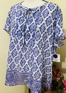 Liz Claiborne blouse women's short sleeves purple geometric Sz#XXL NWT