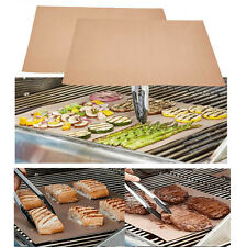4Pcs Copper Grill Mat BBQ Pad Non Stick Barbecue Mat Cooking Chef Bake Reusable