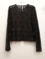 STYLE STALKER Size L Black Gold Beaded Sheer Long Sleeves Top Shirt