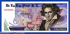 De La Rue Giori S.A. Varinota Beethoven Red Serial - Specimen Test Note UNC