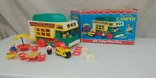 VTG 1972 Fisher Price #994 Play Family Camper 100% Complete With Box Shelf 4UP