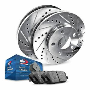 Rear PBR AXXIS Silver Drill/Slot Brake Rotors + Deluxe Advanced Ceramic Pads