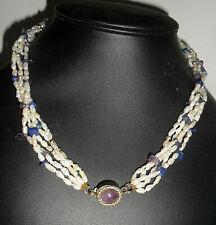 "Amathyst & Lapis Lazuli Collar 18"" Vtg Gold Vermeil 5-Strand Natural Rice Pearls"